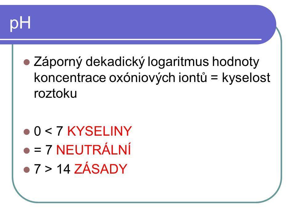pH Záporný dekadický logaritmus hodnoty koncentrace oxóniových iontů = kyselost roztoku. 0 < 7 KYSELINY.