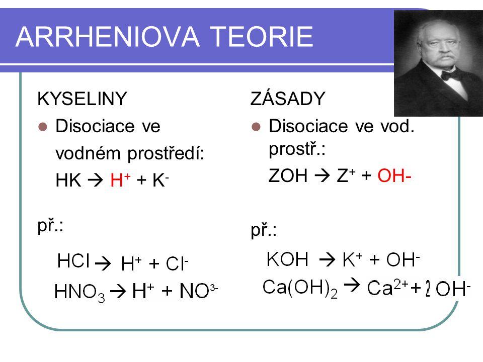 ARRHENIOVA TEORIE KYSELINY Disociace ve vodném prostředí: HK  H+ + K-