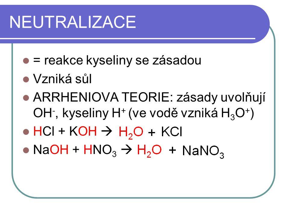 NEUTRALIZACE = reakce kyseliny se zásadou Vzniká sůl