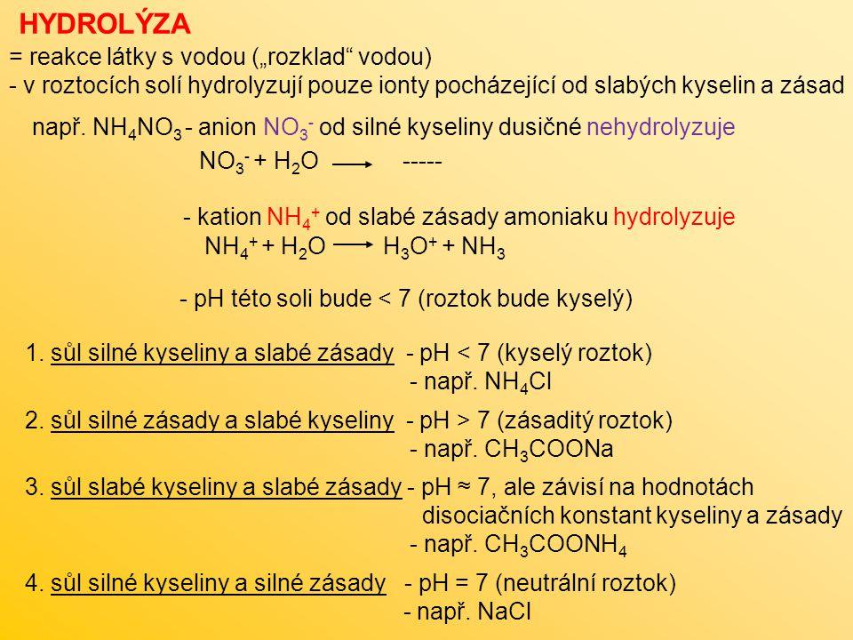 """HYDROLÝZA = reakce látky s vodou (""""rozklad vodou)"""