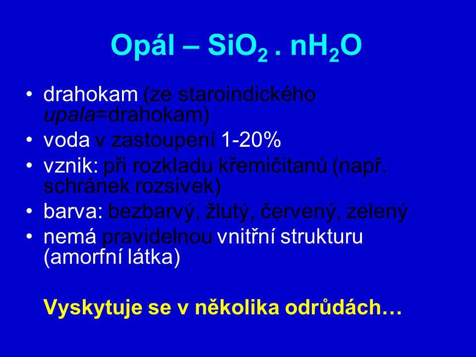 Opál – SiO2 . nH2O drahokam (ze staroindického upala=drahokam)