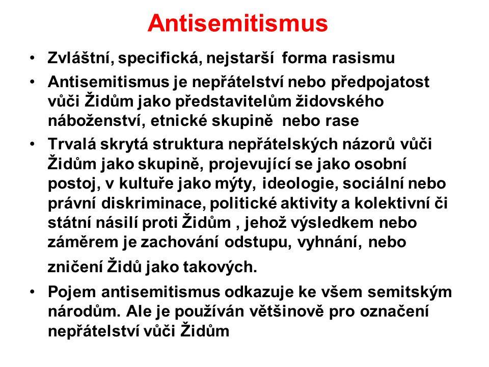 Antisemitismus Zvláštní, specifická, nejstarší forma rasismu