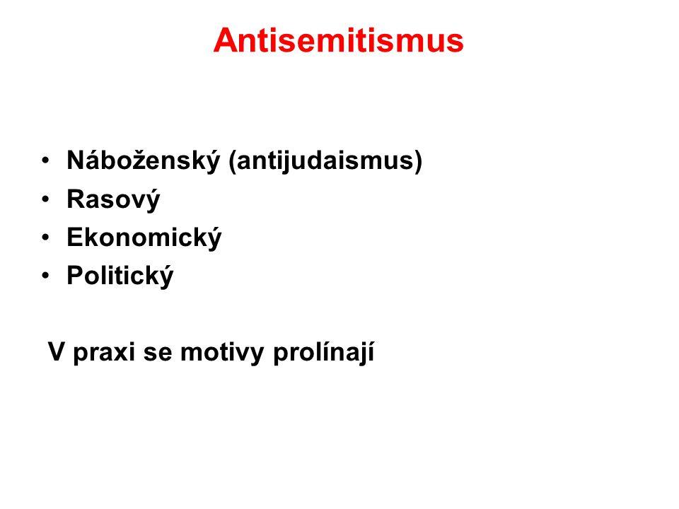 Antisemitismus Náboženský (antijudaismus) Rasový Ekonomický Politický
