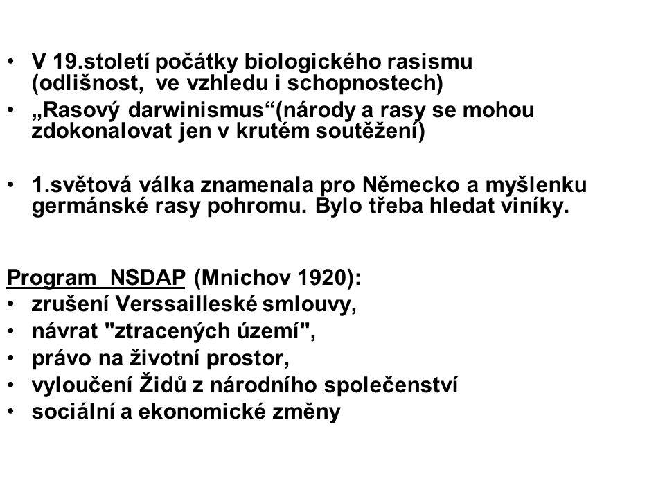 V 19.století počátky biologického rasismu (odlišnost, ve vzhledu i schopnostech)