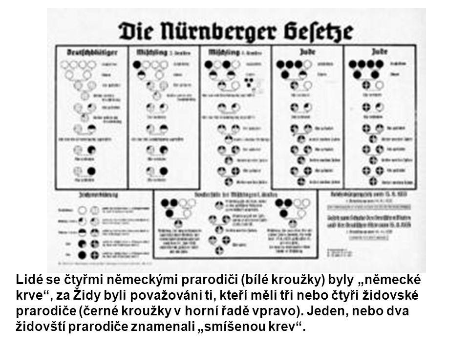 """Lidé se čtyřmi německými prarodiči (bílé kroužky) byly """"německé krve , za Židy byli považováni ti, kteří měli tři nebo čtyři židovské prarodiče (černé kroužky v horní řadě vpravo)."""