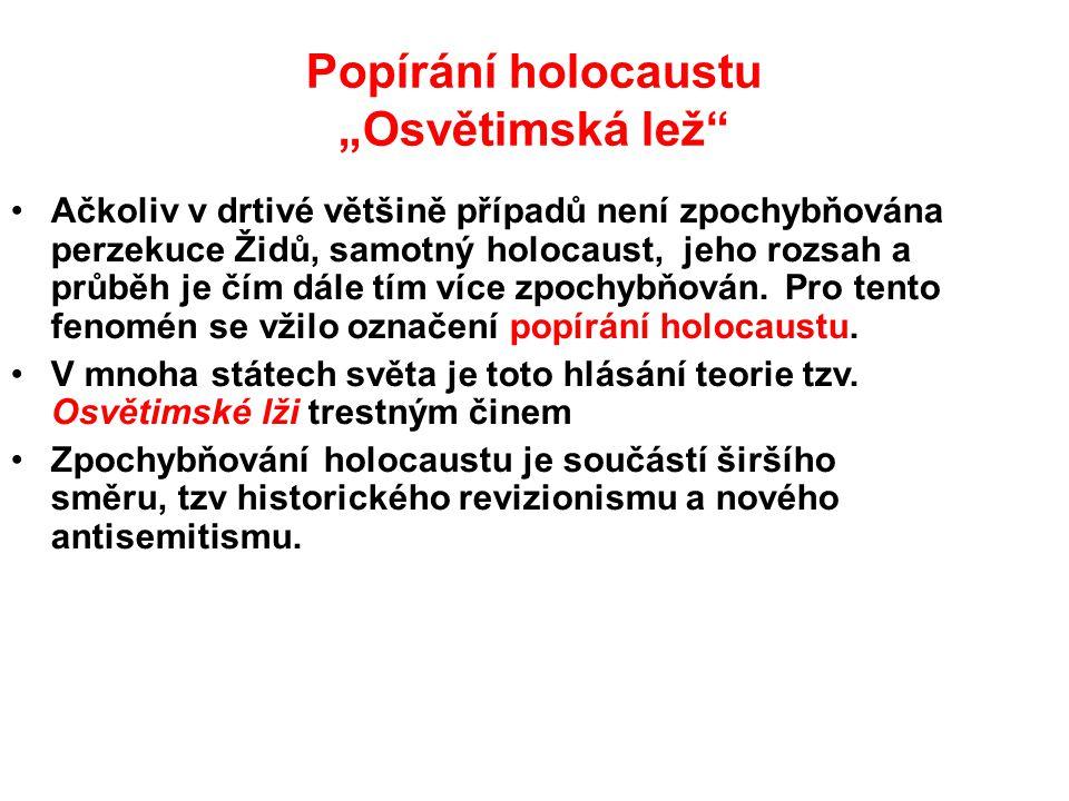 """Popírání holocaustu """"Osvětimská lež"""