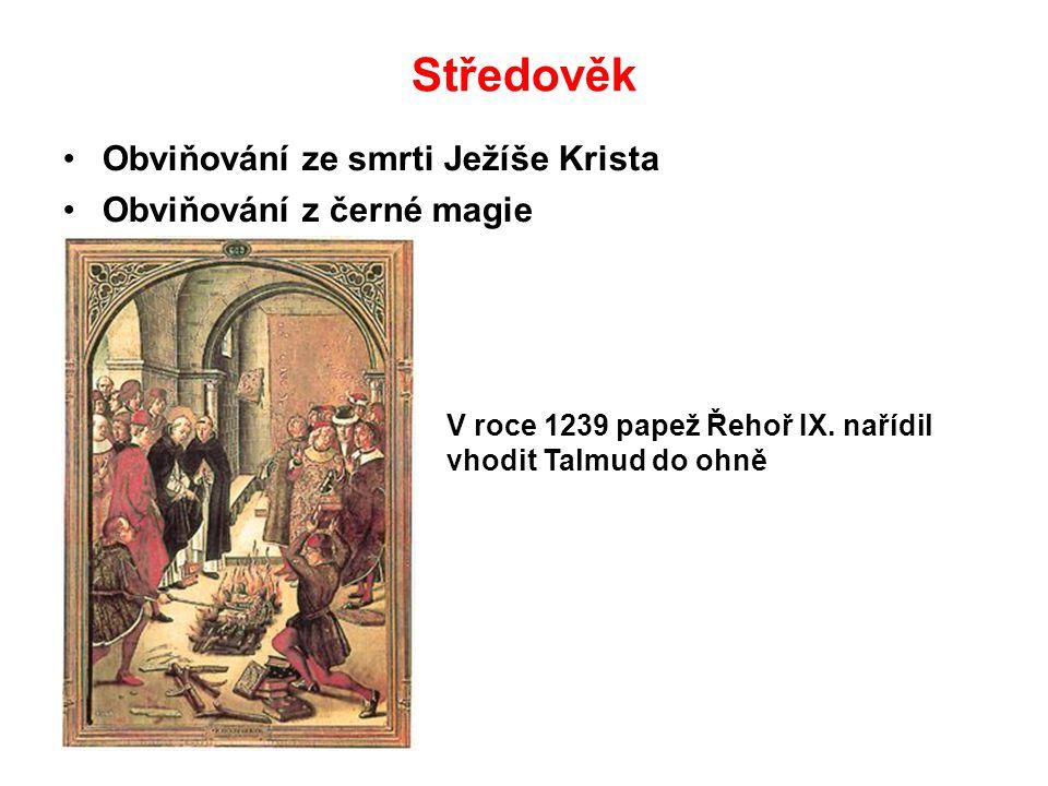 Středověk Obviňování ze smrti Ježíše Krista Obviňování z černé magie