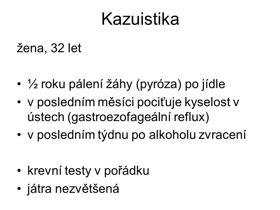 Kazuistika žena, 32 let ½ roku pálení žáhy (pyróza) po jídle
