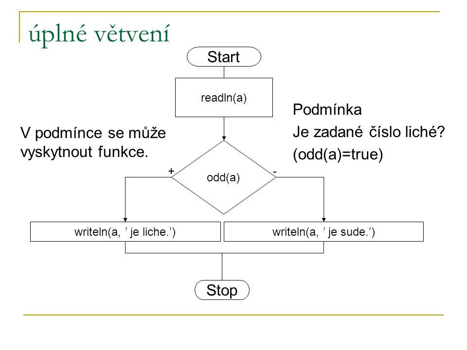 úplné větvení Start Podmínka Je zadané číslo liché (odd(a)=true)