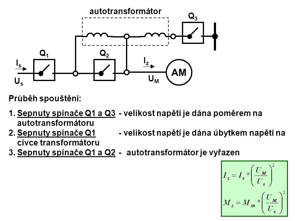 AM autotransformátor Iz Is Q1 Us UM Q2 Q3 Průběh spouštění: