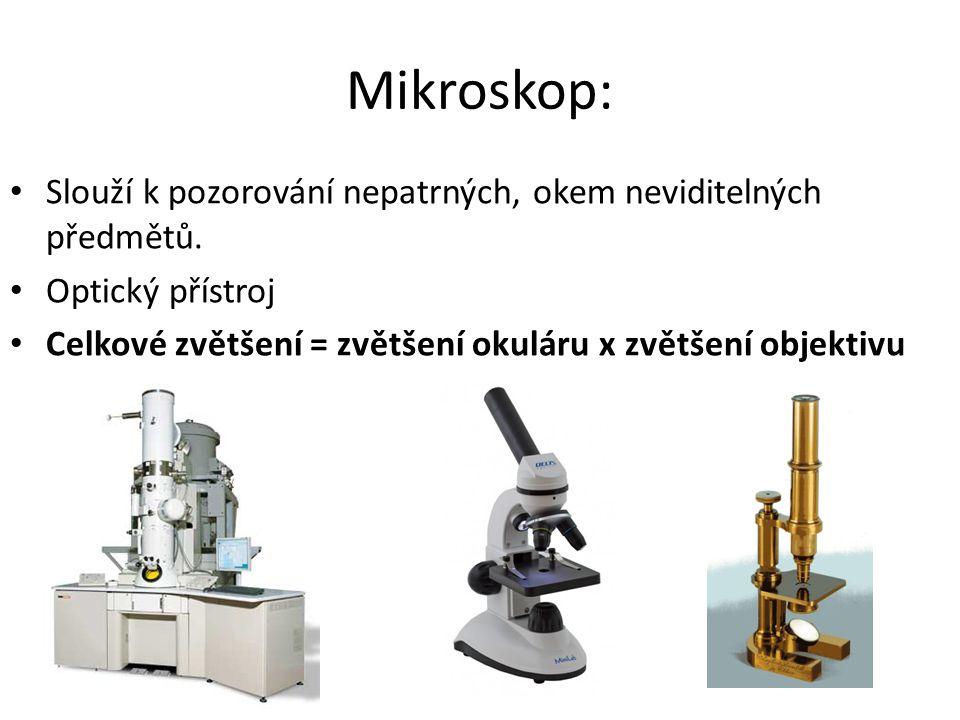 Mikroskop: Slouží k pozorování nepatrných, okem neviditelných předmětů.