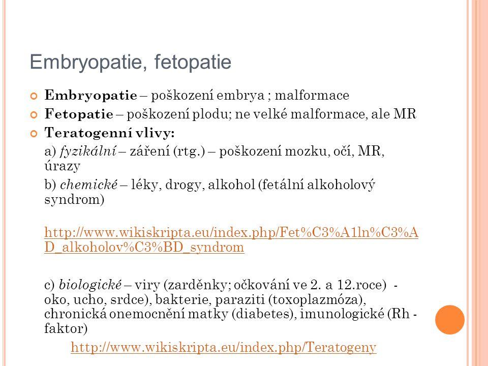 Embryopatie, fetopatie