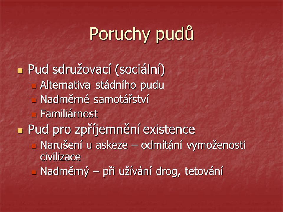 Poruchy pudů Pud sdružovací (sociální) Pud pro zpříjemnění existence