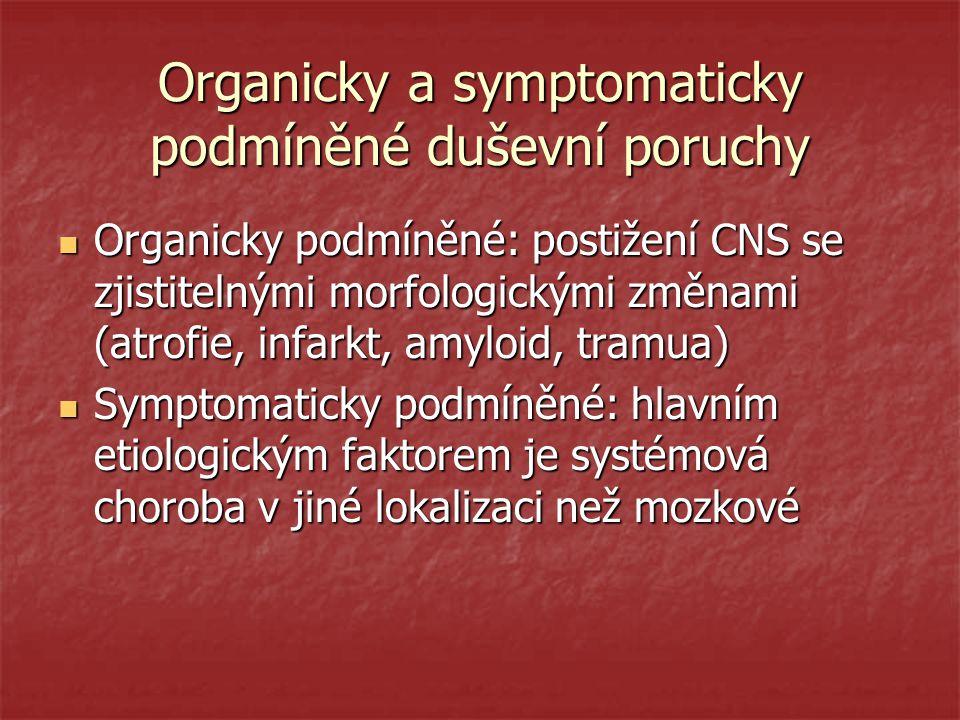 Organicky a symptomaticky podmíněné duševní poruchy