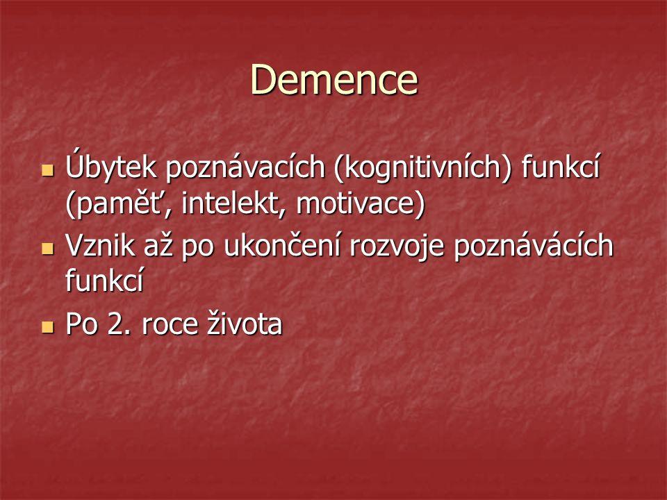 Demence Úbytek poznávacích (kognitivních) funkcí (paměť, intelekt, motivace) Vznik až po ukončení rozvoje poznávácích funkcí.