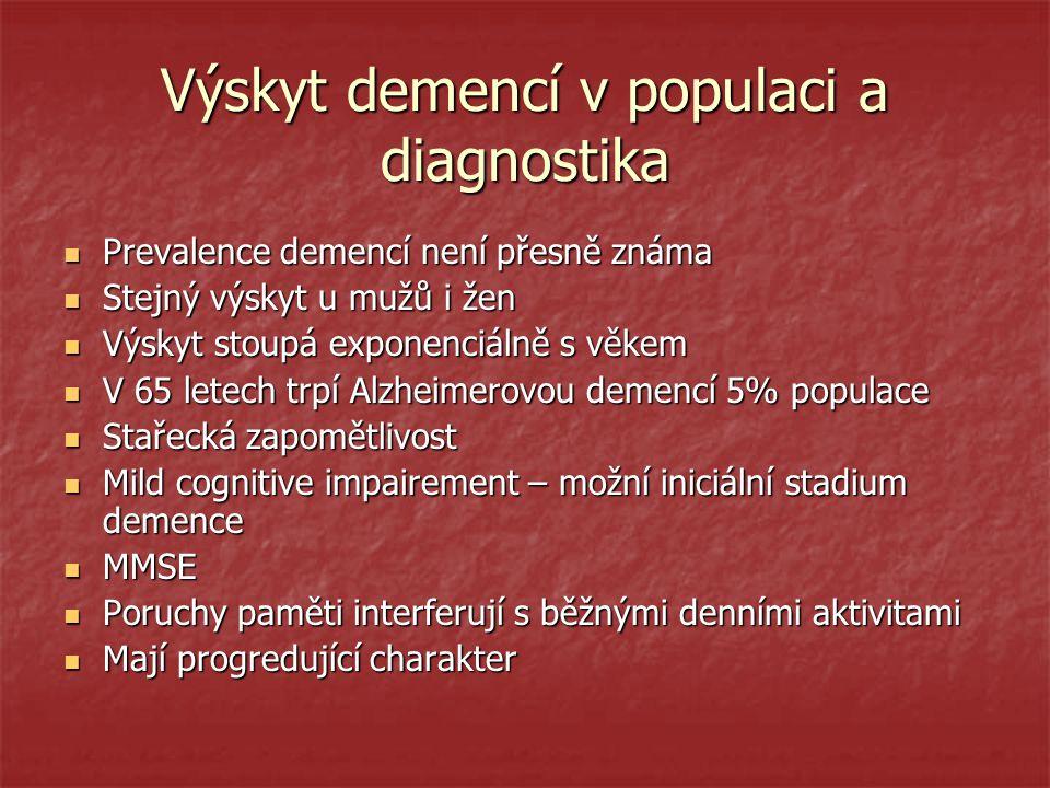 Výskyt demencí v populaci a diagnostika