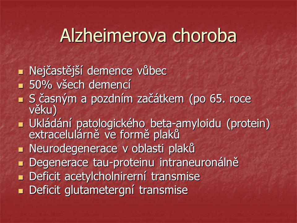 Alzheimerova choroba Nejčastější demence vůbec 50% všech demencí