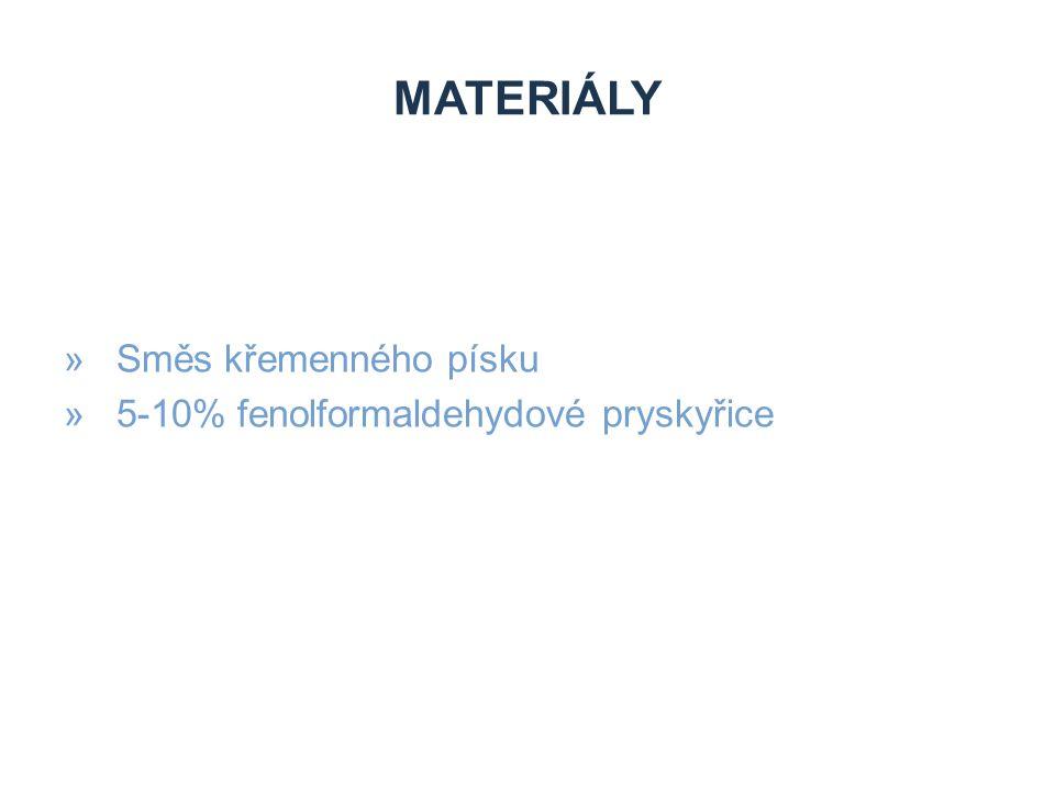 Materiály Směs křemenného písku 5-10% fenolformaldehydové pryskyřice