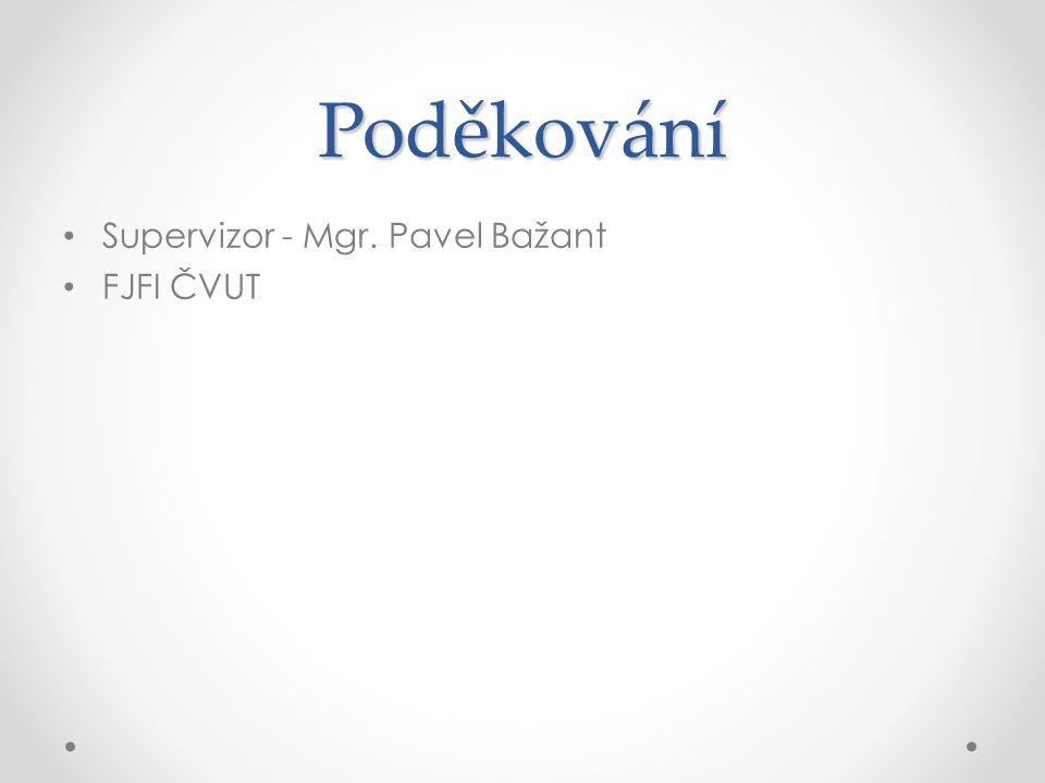 Poděkování Supervizor - Mgr. Pavel Bažant FJFI ČVUT