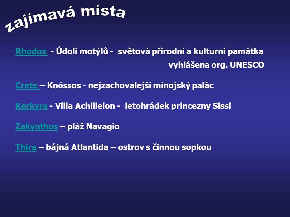 zajímavá místa Rhodos - Údolí motýlů - světová přírodní a kulturní památka. vyhlášena org. UNESCO.