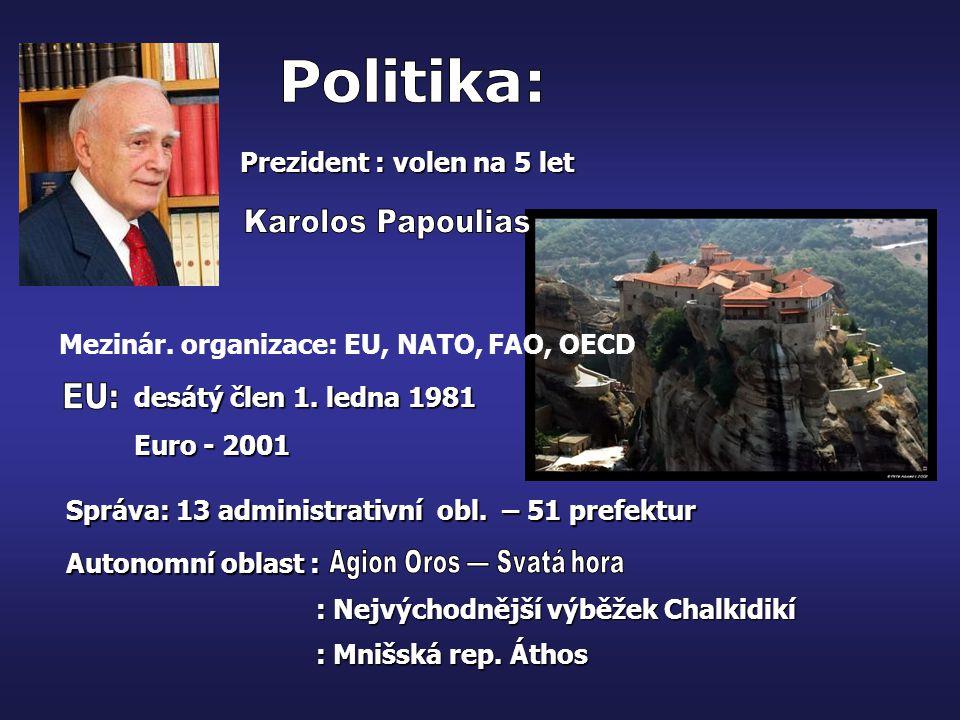 Politika: Karolos Papoulias EU: Prezident : volen na 5 let