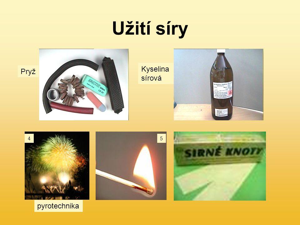 Užití síry Kyselina sírová Pryž 4 5 pyrotechnika