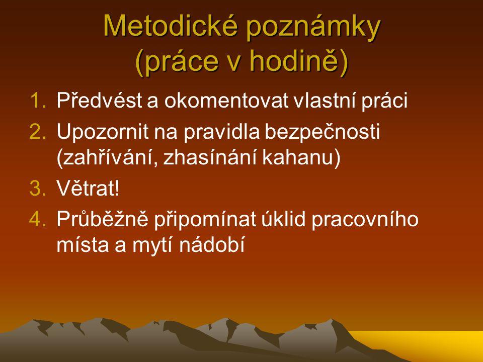 Metodické poznámky (práce v hodině)