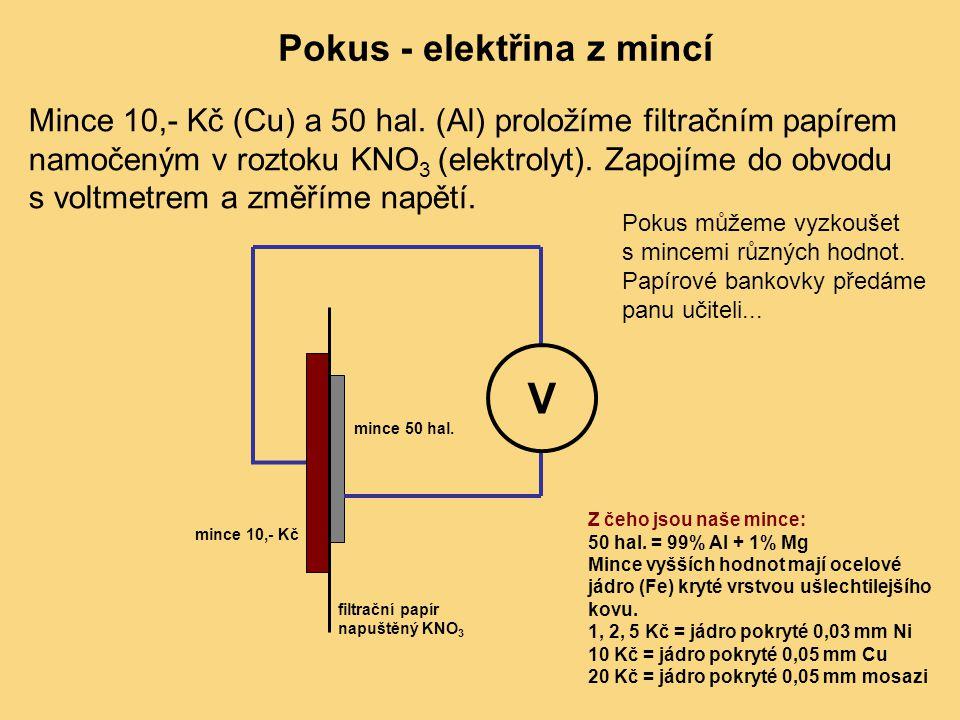 Pokus - elektřina z mincí