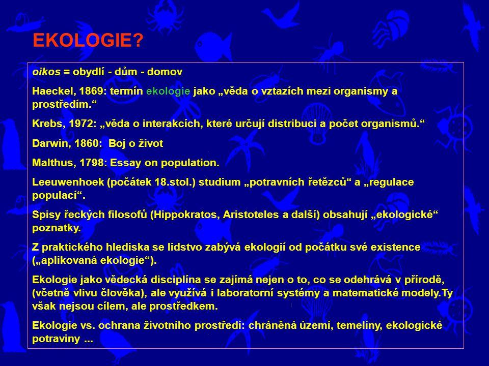 EKOLOGIE oikos = obydlí - dům - domov