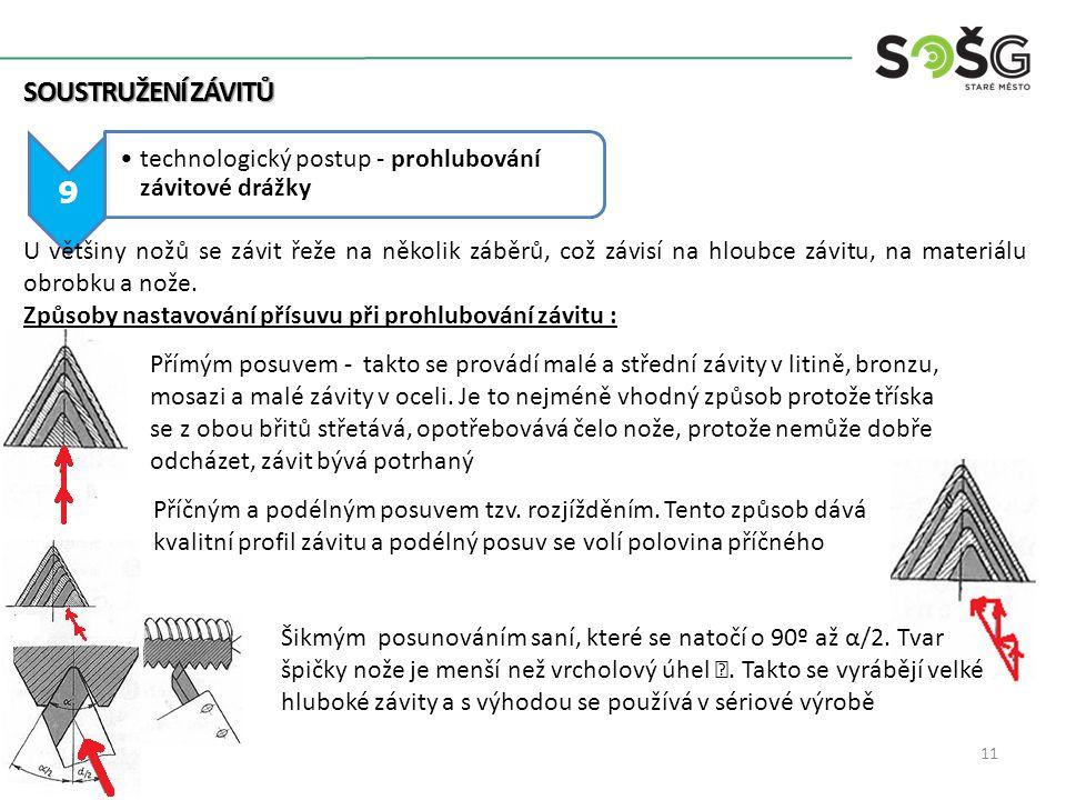 Soustružení závitů 9. technologický postup - prohlubování závitové drážky.