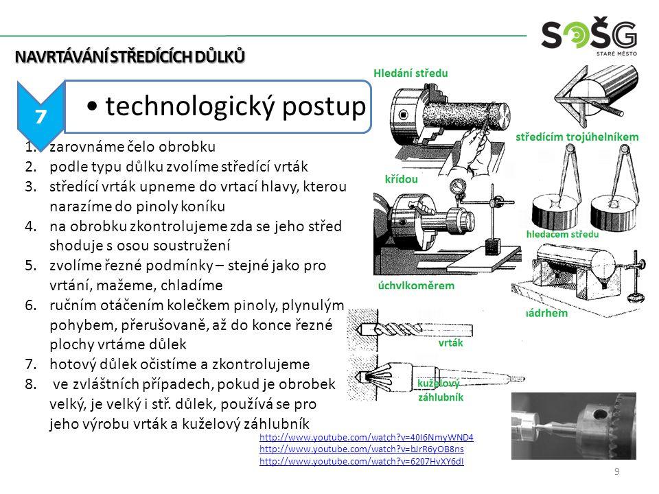 technologický postup NAVRTÁVÁNÍ STŘEDÍCÍCH DŮLKŮ 7