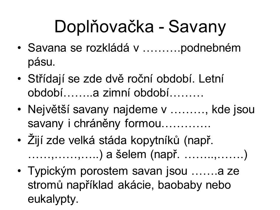 Doplňovačka - Savany Savana se rozkládá v ……….podnebném pásu.