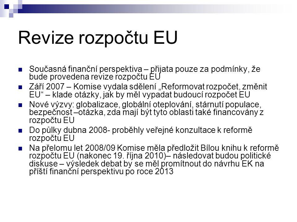 Revize rozpočtu EU Současná finanční perspektiva – přijata pouze za podmínky, že bude provedena revize rozpočtu EU.