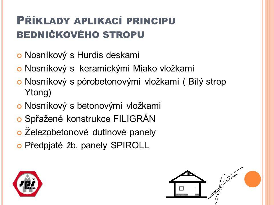 Příklady aplikací principu bedničkového stropu