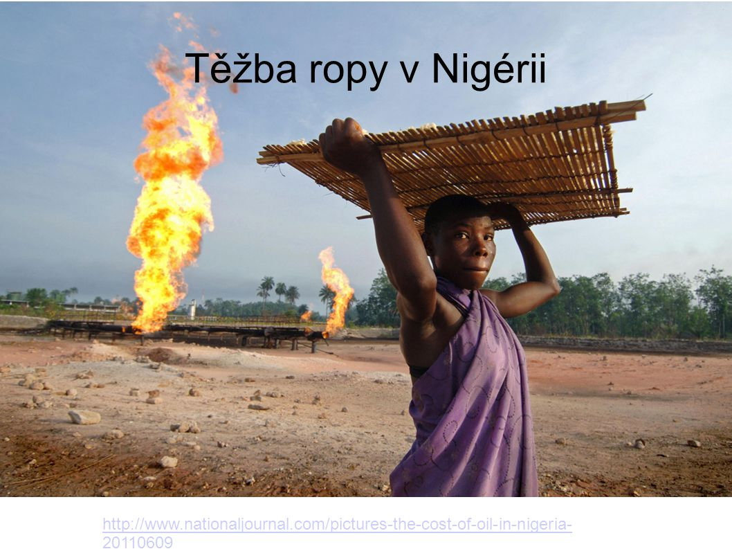 Těžba ropy v Nigérii http://www.nationaljournal.com/pictures-the-cost-of-oil-in-nigeria-20110609