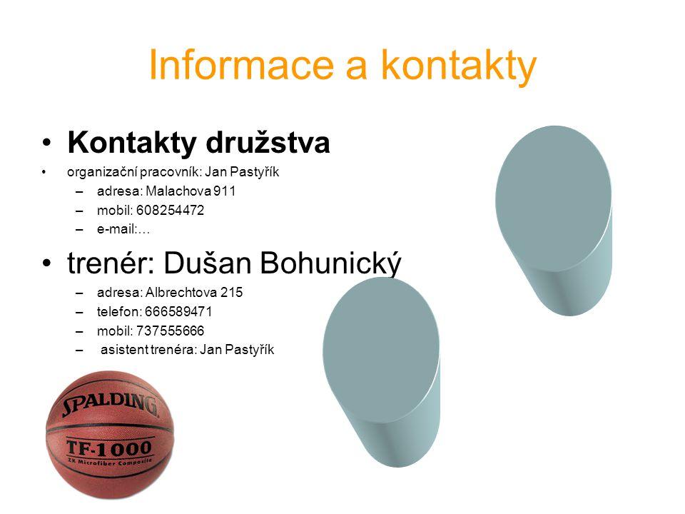 Informace a kontakty Kontakty družstva trenér: Dušan Bohunický