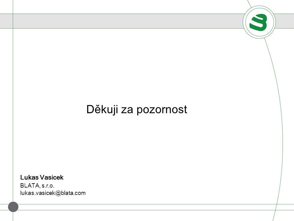 Děkuji za pozornost Lukas Vasicek BLATA, s.r.o.