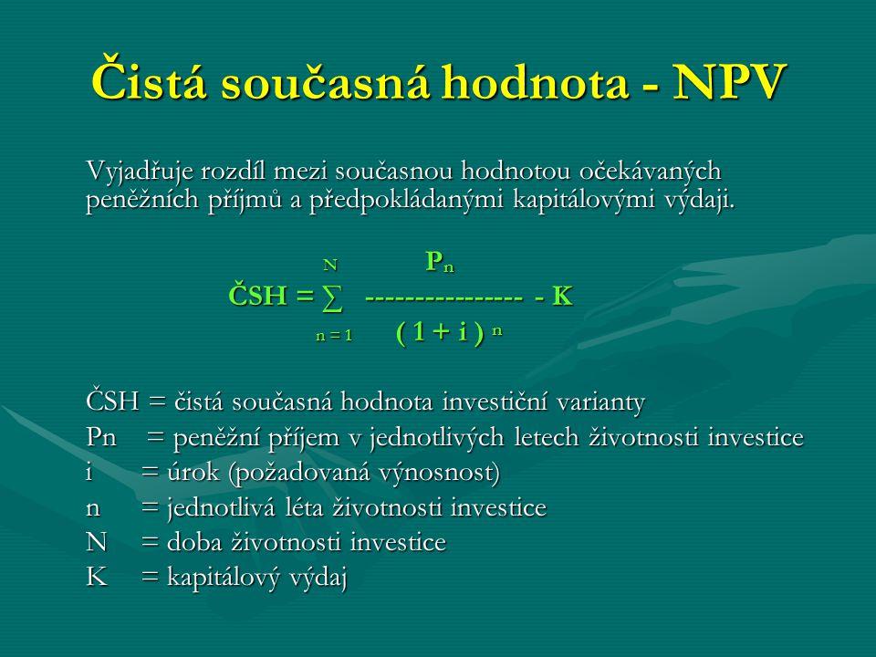 Čistá současná hodnota - NPV