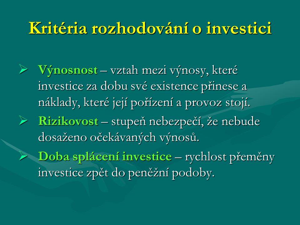 Kritéria rozhodování o investici