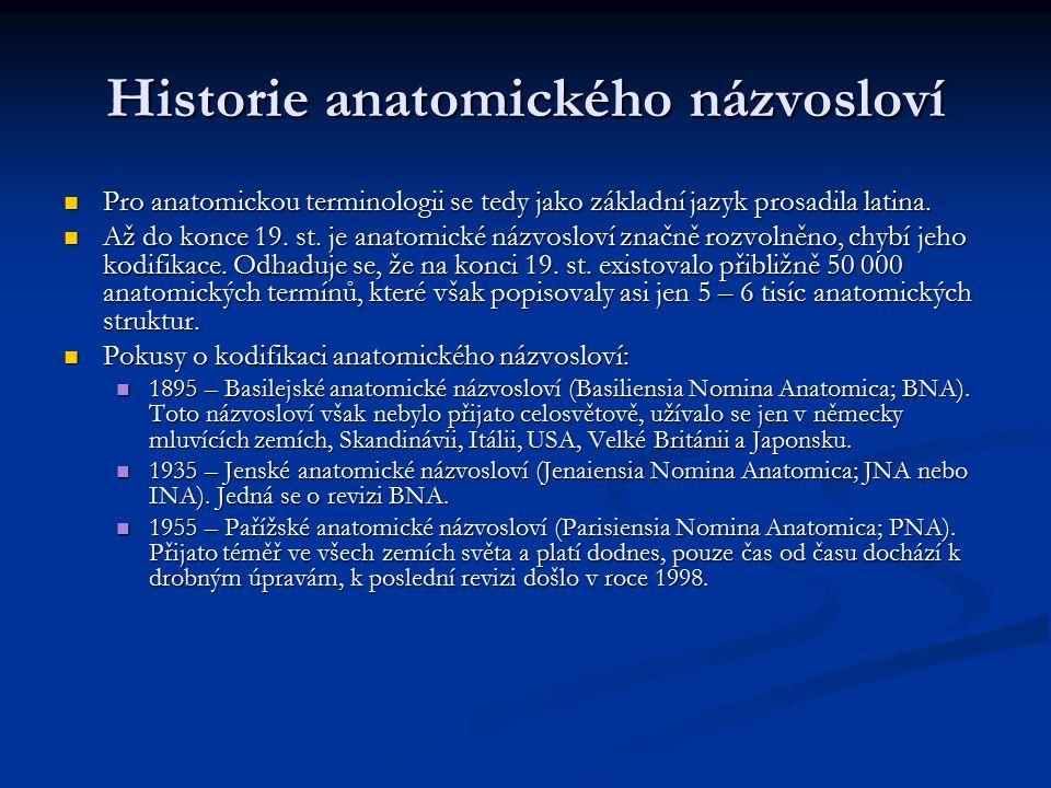 Historie anatomického názvosloví