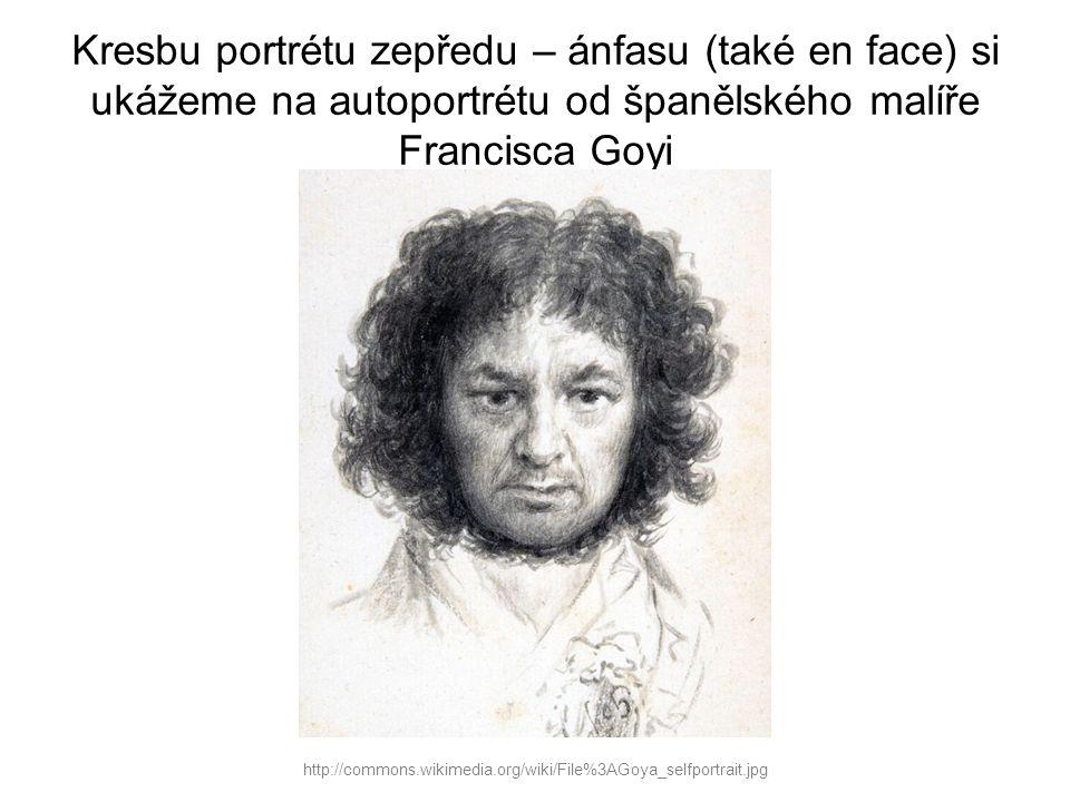Kresbu portrétu zepředu – ánfasu (také en face) si ukážeme na autoportrétu od španělského malíře Francisca Goyi