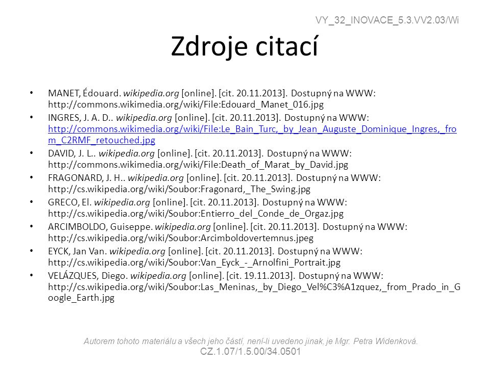 VY_32_INOVACE_5.3.VV2.03/Wi Zdroje citací.