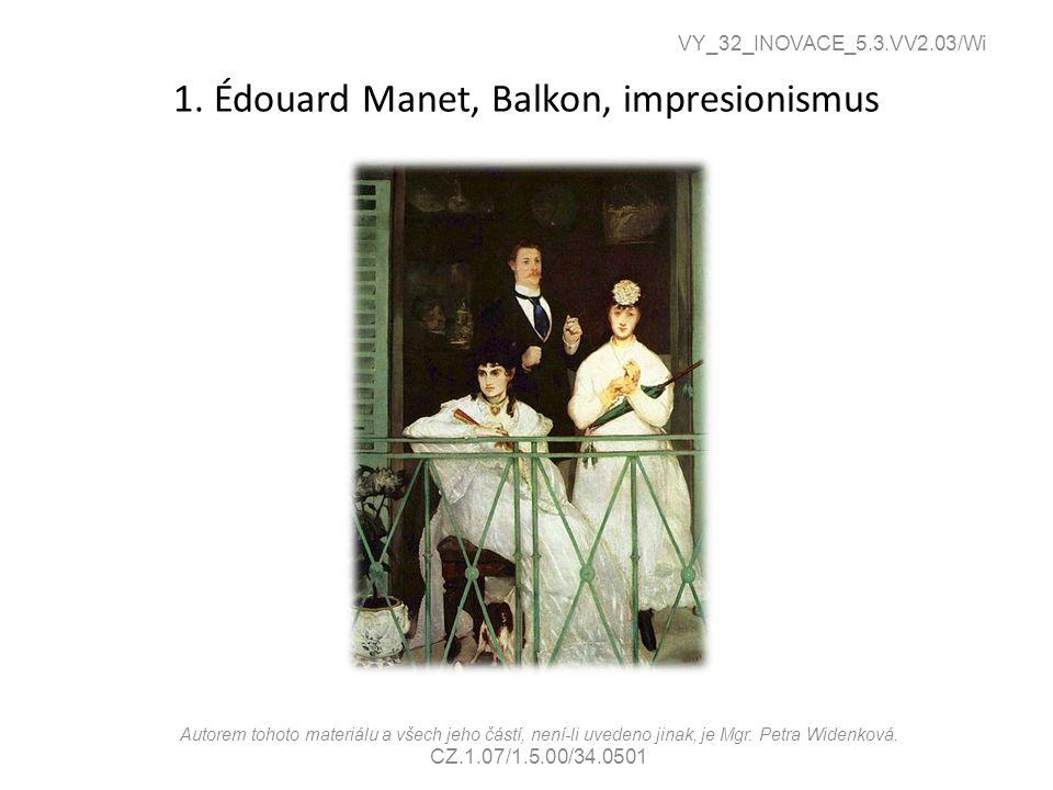 1. Édouard Manet, Balkon, impresionismus