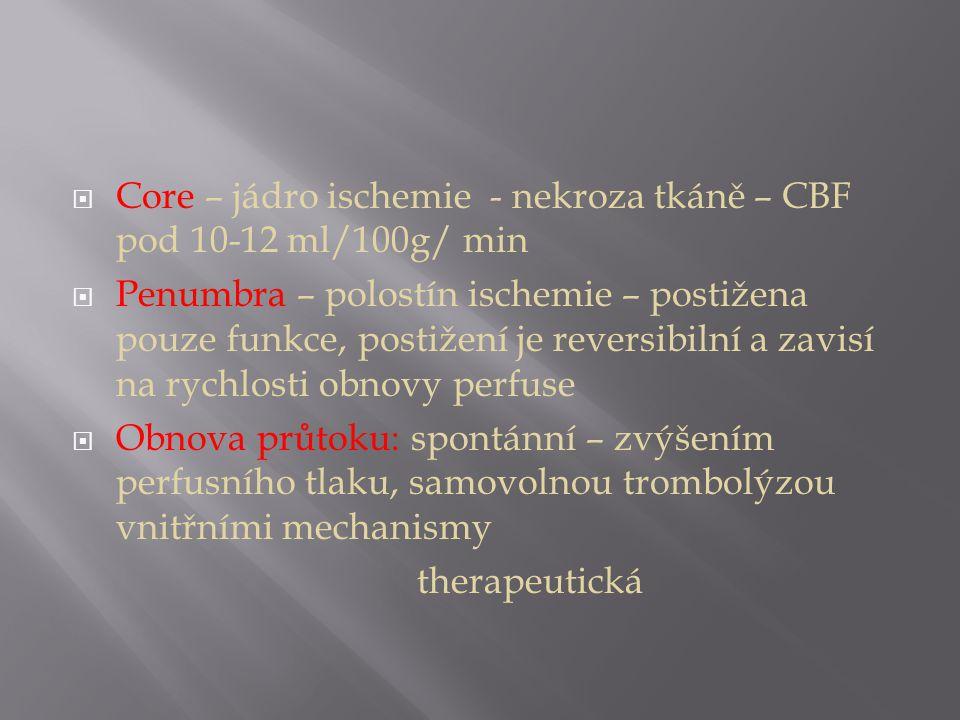Core – jádro ischemie - nekroza tkáně – CBF pod 10-12 ml/100g/ min