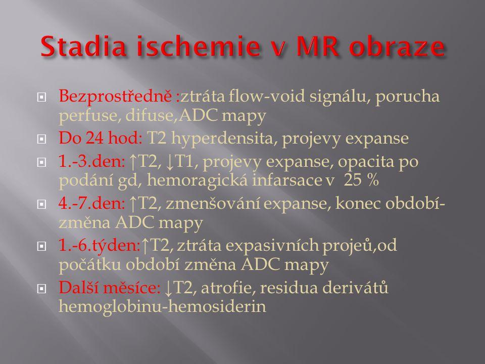 Stadia ischemie v MR obraze