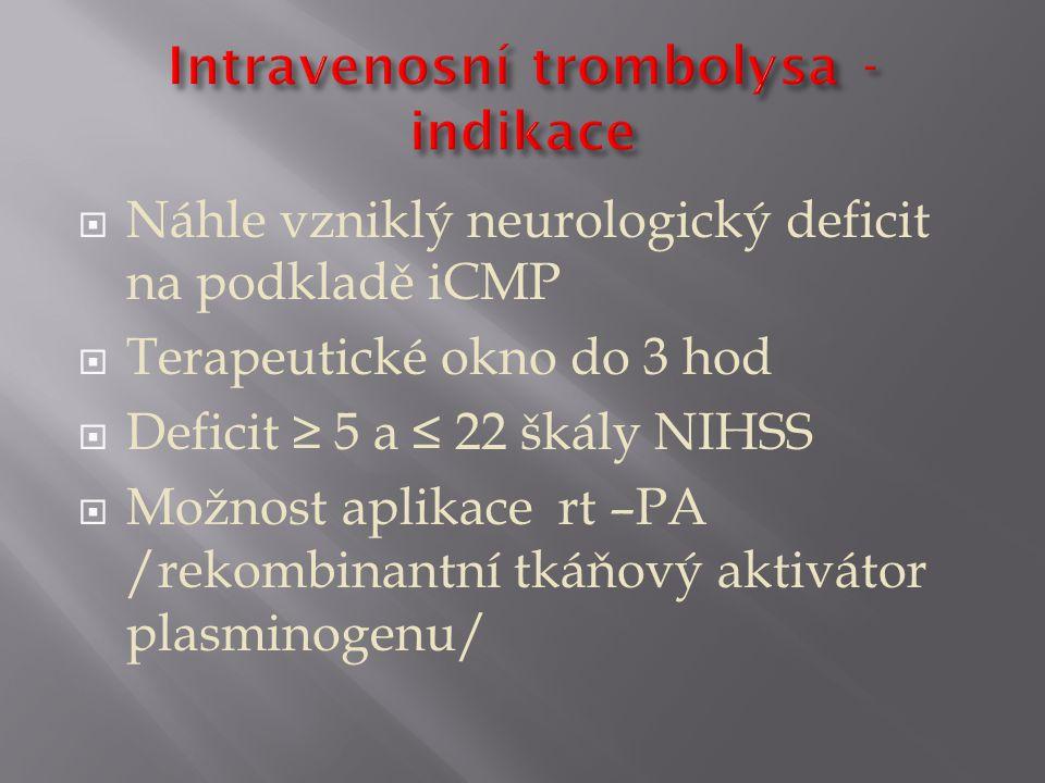 Intravenosní trombolysa - indikace