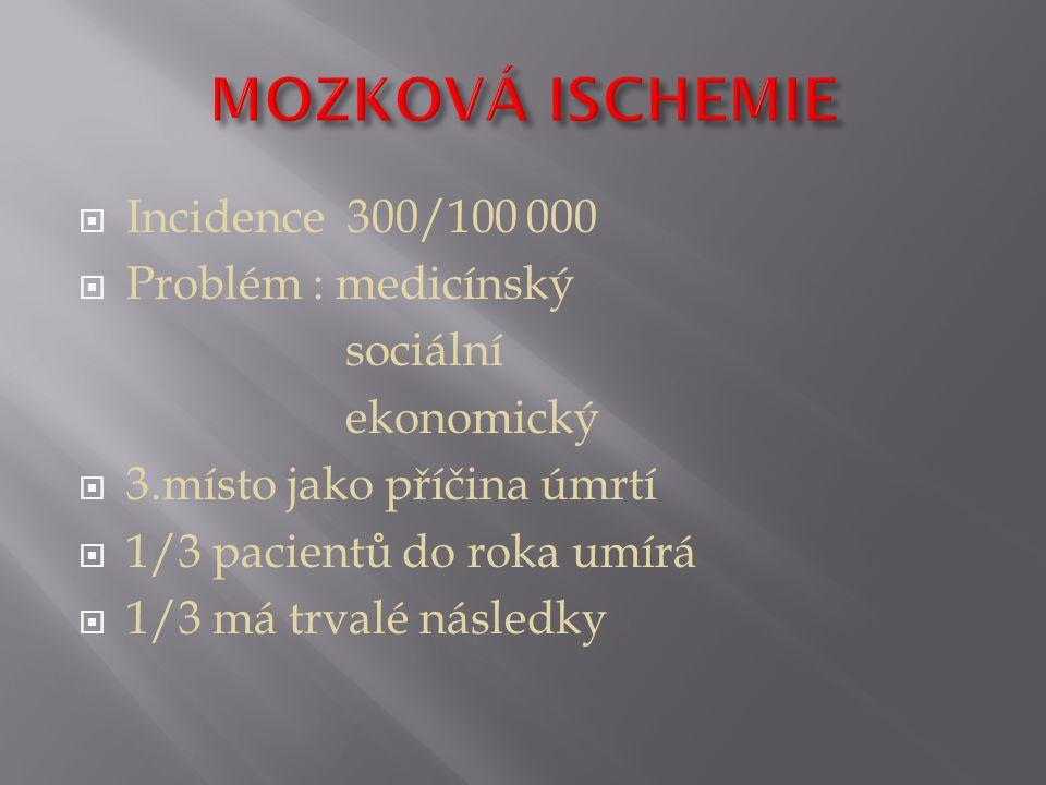 MOZKOVÁ ISCHEMIE Incidence 300/100 000 Problém : medicínský sociální
