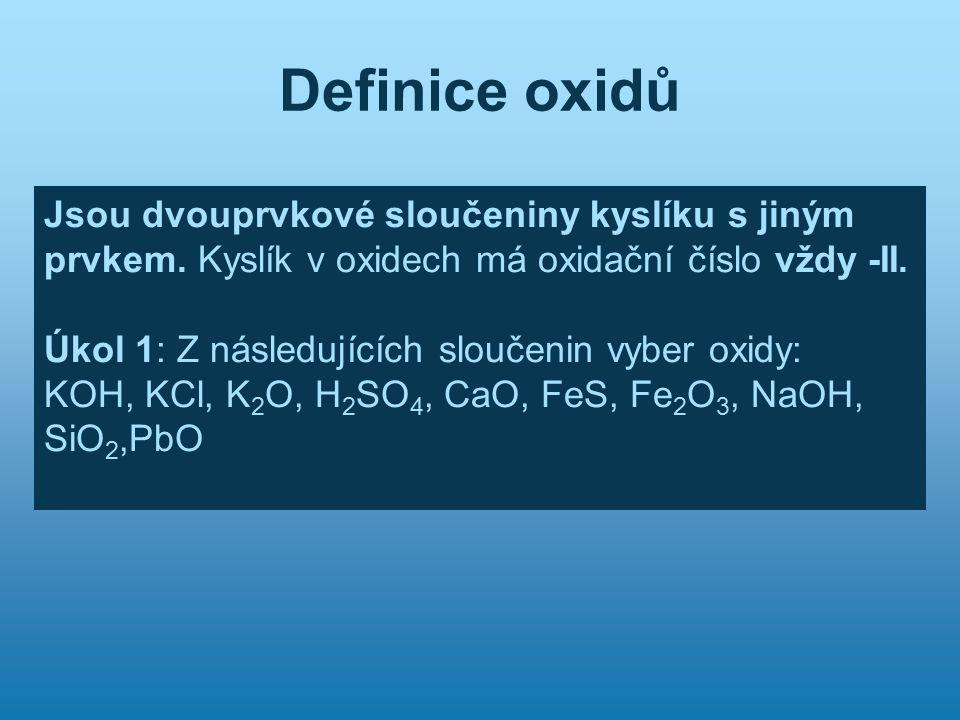 Definice oxidů Jsou dvouprvkové sloučeniny kyslíku s jiným prvkem. Kyslík v oxidech má oxidační číslo vždy -II.