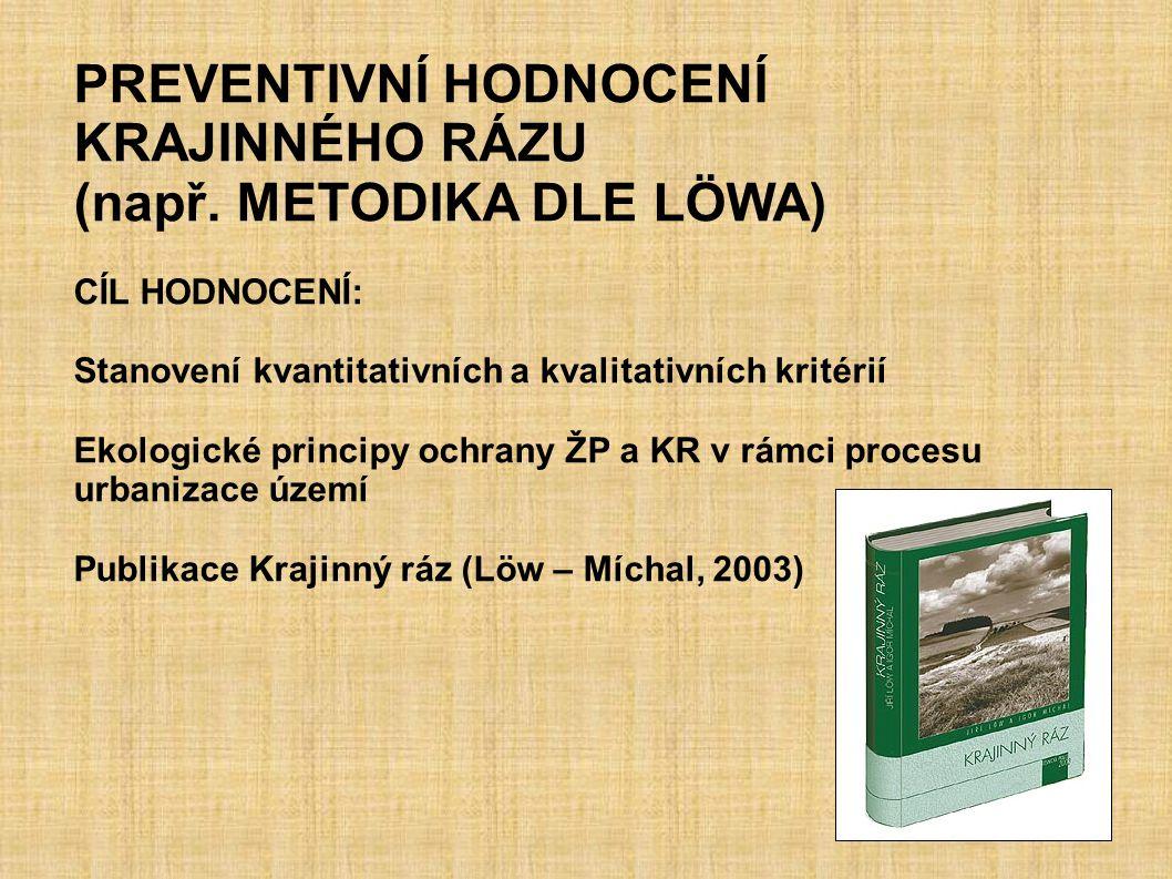 PREVENTIVNÍ HODNOCENÍ KRAJINNÉHO RÁZU (např. METODIKA DLE LÖWA)