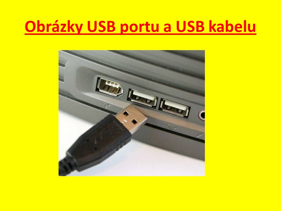 Obrázky USB portu a USB kabelu